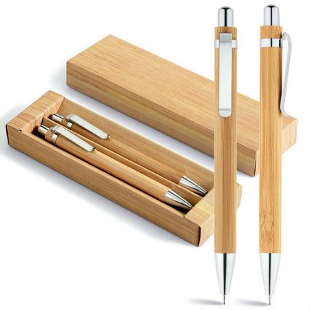 Conjunto Caneta e Lapiseira de Bambu